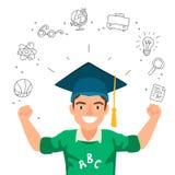 Portrait d'un garçon dans un chapeau du diplômé Photo libre de droits