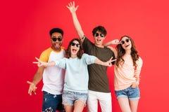 Portrait d'un groupe heureux gai d'amis multiraciaux Photographie stock libre de droits