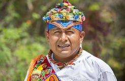 Portrait d'un homme à une cérémonie rituelle des hommes de vol de Voladores photographie stock libre de droits