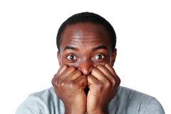 Portrait d'un homme africain nerveous Photo stock