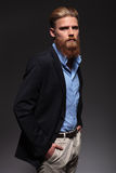 Portrait d'un homme barbu sérieux d'affaires Images libres de droits