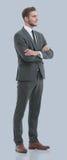 Portrait d'un homme bel élégant d'affaires sur le fond gris Image libre de droits