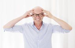 Portrait d'un homme chauve Photo stock