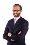 Portrait d'un homme d'affaires d'isolement sur le fond blanc. Studio Image stock