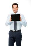 Portrait d'un homme d'affaires de sourire avec le comprimé numérique Photo libre de droits