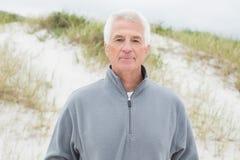 Portrait d'un homme supérieur bel à la plage Photographie stock libre de droits