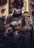 Portrait d'un jeune scientifique dans le style de steampunk images libres de droits