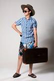 Portrait d'un jeune touriste dans un looki intégral Images libres de droits