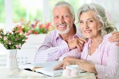 Portrait d'un livre de lecture supérieur heureux de couples Photo stock