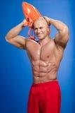 Portrait d'un maître nageur heureux Photographie stock libre de droits