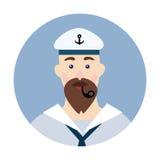 Portrait d'un marin barbu avec le tuyau de tabagisme dans sa bouche Illustration de vecteur, d'isolement sur le blanc illustration stock