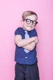 Portrait d'un petit garçon de sourire dans des verres et un lien drôles école précours Mode Portrait de studio au-dessus de fond  photos libres de droits