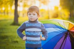 Portrait d'un petit garçon heureux en parc Photos stock