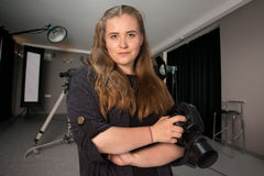 Portrait d'un photographe de jeune fille Images libres de droits