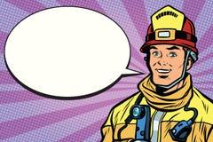 Portrait d'un pompier de sourire, bulle de bande dessinée illustration stock