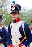 Portrait d'un reenactor habillé en tant que soldat de guerre napoléonienne Photographie stock libre de droits