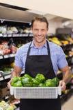 Portrait d'un travailleur beau de sourire tenant une boîte avec des légumes Photographie stock libre de droits