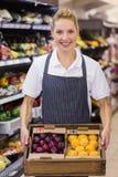 Portrait d'un travailleur blond de sourire tenant une boîte avec des légumes Photo libre de droits