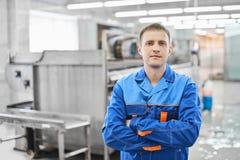 Portrait d'un travailleur de sexe masculin de blanchisserie images stock