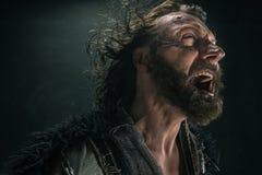 Portrait d'un Viking chauve brutal dans un courrier de bataille posant sur un fond noir images stock