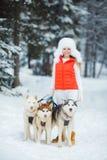Portrait d'une belle femme avec un chien de traîneau sibérien Photo libre de droits