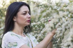 Portrait d'une belle femme dans le profil Image stock