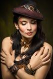 Portrait d'une belle femme de steampunk Photos libres de droits