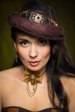 Portrait d'une belle femme de steampunk Image libre de droits