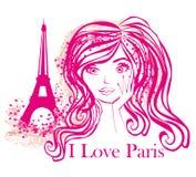 Portrait d'une belle fille à Paris Photographie stock libre de droits