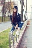 Portrait d'une belle hippie de fille Image libre de droits