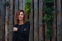 Portrait d'une belle jeune femme dans la robe noire sur un fond de vieux mur en bois photographie stock