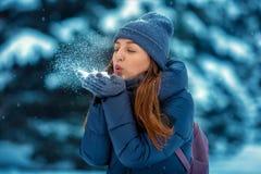 Portrait d'une belle jeune femme gaie en hiver en nature images libres de droits