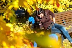 Portrait d'une belle jeune femme regardant à son chien tout en se reposant en parc d'automne La fille s'assied sur en bois brun Images libres de droits