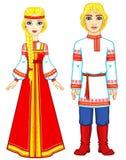 Portrait d'une famille dans des vêtements russes antiques Image stock