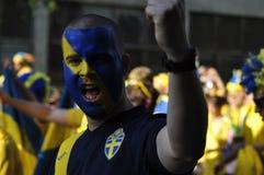 Portrait d'une fan dans une foule Image stock