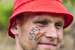 Portrait d'une fan de Tour de France Photo stock