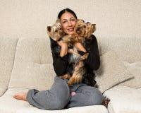 Portrait d'une femme - éleveur de terrier de Yorkshire avec des chiens Photos stock