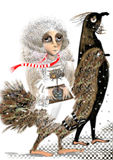 Portrait d'une femme étrange montant un oiseau énorme avec les pieds humains illustration libre de droits