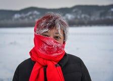 Portrait d'une femme asiatique en hiver images libres de droits