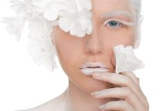 Portrait d'une femme avec du charme avec un maquillage d'hiver Images stock