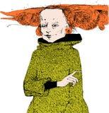 Portrait d'une femme avec les cheveux rouges dans une robe verte et avec des boucles d'oreille Approprié à une affiche, bannière, illustration libre de droits