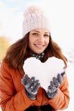 Portrait d'une femme avec un coeur Photographie stock