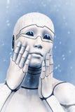 Portrait d'une femme congelée de cyborg illustration du rendu 3d Images stock