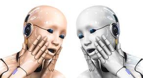 Portrait d'une femme de cyborg dépeignant la confusion illustration du rendu 3d Images libres de droits