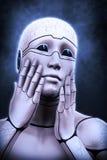 Portrait d'une femme de cyborg dépeignant un effroi illustration du rendu 3d Photographie stock