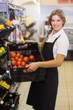 Portrait d'une femme de personnel tenant une boîte avec légumes frais Image libre de droits