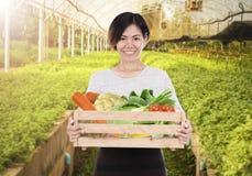 Portrait d'une femme de sourire de personnel tenant la boîte en bois image libre de droits