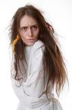 Portrait d'une femme folle dans une camisole de force images stock