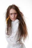 Portrait d'une femme folle dans une camisole de force photos libres de droits