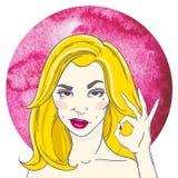 Portrait d'une fille avec de longs cheveux blonds, montrant CORRECT illustration stock